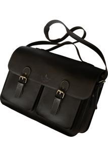 Bolsa Line Store Satchel Pockets Extra Grande Couro Marrom.