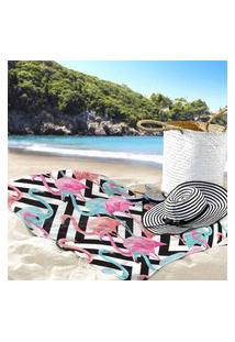 Toalha De Praia / Banho Flamingos E Traços Único