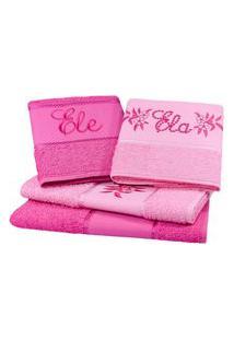 Jogo Toalha 4 Pçs Banho Bordado Arteira Ela E Ele Perfeito Estilo Pink/Rosa