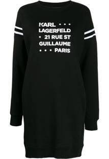 Karl Lagerfeld Vestido Mangas Longas Com Estampa - Preto