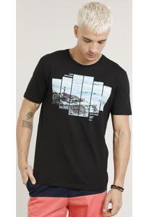 """Camiseta Masculina """"Lost Paradise"""" Manga Curta Gola Careca Preta"""