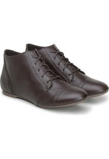 Bota Feminina Casual Confort Cano Curto Ankle Boot Cavalaria Café
