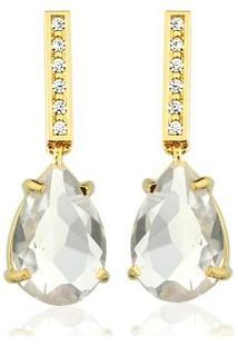Brinco Toque De Joia Quartzo Cristal Com Haste De Zircônias - Feminino-Dourado