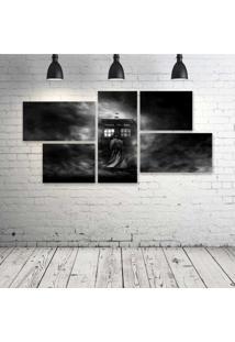 Quadro Decorativo - Tardis-Mist-Grayscale-Doctor-Who - Composto De 5 Quadros - Multicolorido - Dafiti