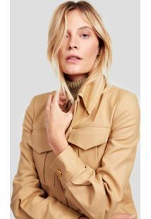 Jaqueta De Alfaiataria Com Bolsos Frontais Diana Camel Maple - 36