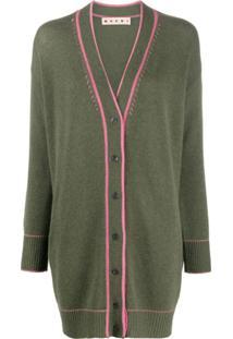 Marni Cardigan Oversized Com Costura Contrastante - Verde