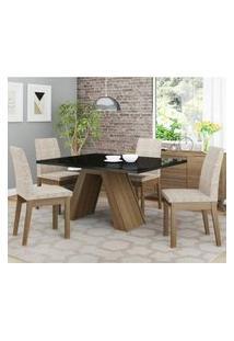 Conjunto Sala De Jantar Madesa Ayla Mesa Tampo De Vidro Com 4 Cadeiras Rustic/Preto/Fendi