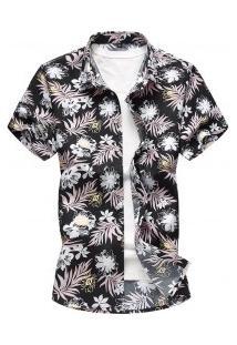 Camisa Masculina Estampa Havaiana - Preto