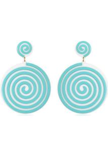 Brinco Le Diamond Aspiral Turquesa Azul