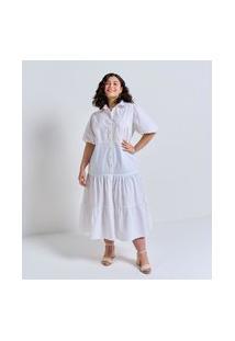 Vestido Em Tricoline Com Marias Curve & Plus Size Branco