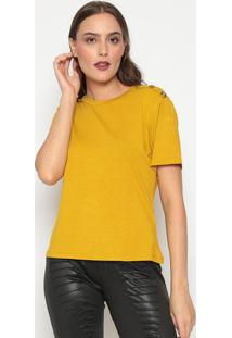 Blusa Com Botões & Recortes- Amarelo Escuro- Dedikadedika