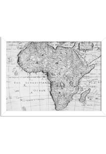 Quadro Decorativo Mapa Mundi Africa Preto E Branco Branco - Médio