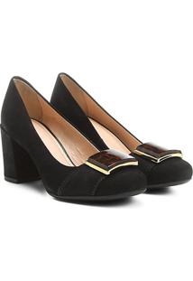 Scarpin Couro Shoestock Salto Médio Acrílico Onça - Feminino-Preto