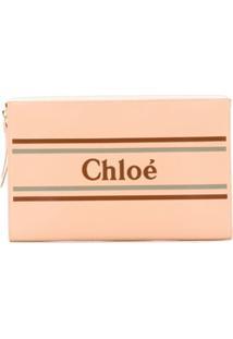 Chloé Clutch Com Logo - Rosa