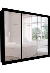 Guarda-Roupa Casal Com 3 Espelhos Helena 3 Pt 8 Gv Preto 242 Cm