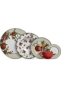 Aparelho De Jantar 20 Peças Romã - Alleanza - Branco / Vermelho