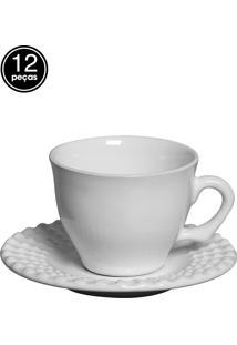 Conjunto 6 Xícaras De Café Perles Branco Scalla