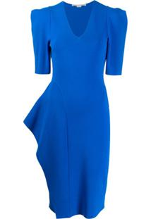 Stella Mccartney Vestido Midi Com Ombros Estruturados - Azul