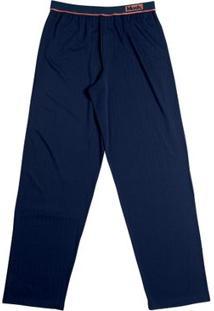 Calça Modal Com Elástico Bordado Azul Marinho P