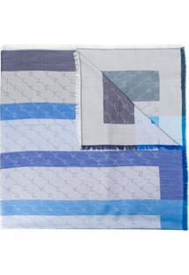 Stella Mccartney Echarpe Listrada Com Logo - Azul