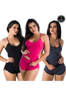 Kit Com 3 Baby Dolls Liso Algodão Paris Click Mais Bonita Feminino - Feminino-Preto