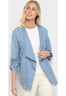 Blazer Jeans Mercatto Lapela Feminino - Feminino-Azul