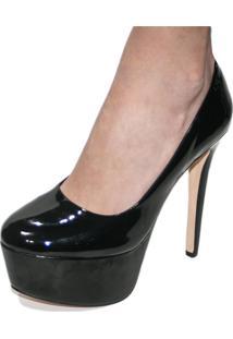 Scarpin Liszy Bico Redondo High Heels Preto - Kanui