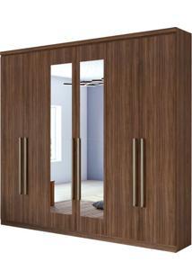 Guarda Roupa Alonzo New 6 Portas Com Espelho Imbuia Naturale