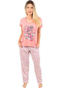 Pijama Bella Fiore Modas Longo Alice Cor