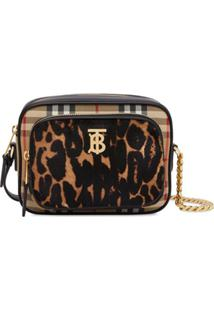 Burberry Vintage Check And Leopard Print Calf Hair Camera Bag - Neutro