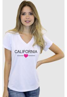 Camiseta Suffix Branca Gola V Estampa Califórnia Com Coração Pink