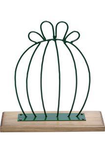 Escultura Cacto- Verde & Marrom- 42X26X15Cm- Decdecor Glass