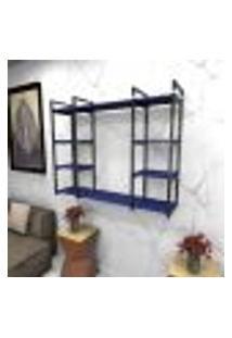 Estante Estilo Industrial Sala Aço Cor Preto 120X30X98Cm (C)X(L)X(A) Cor Mdf Azul Modelo Ind45Azsl