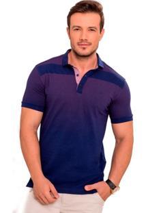 Camiseta Polo Azul Marinho Maquinetada Rosa - Masculino