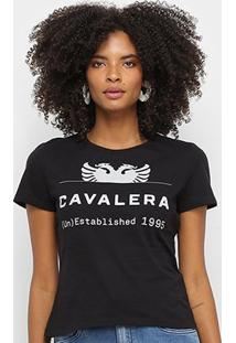 Camiseta Cavalera Logo Águia Feminina - Feminino-Preto