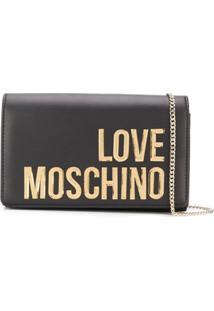Love Moschino Clutch Com Logo - Preto