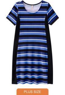 Vestido Listrado Malha Canelada Azul
