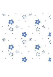 Papel De Parede Azul Floral Para Quarto 57X270Cm