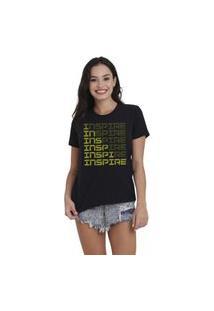 Camiseta Jay Jay Basica Inspire Neon Amarelo Preta