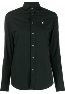 Polo Ralph Lauren Camisa Slim Com Logo Bordado - Preto