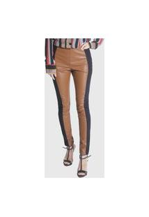 Calça Skinny Comfort Miss Joy Pu Caramelo