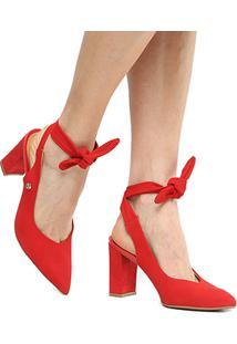 Scarpin Couro Bottero Salto Alto Chanel Amarração - Feminino-Vermelho
