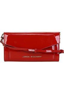 Bolsa Couro Jorge Bischoff Clutch Estruturada Envelope Verniz Feminina - Feminino-Vermelho