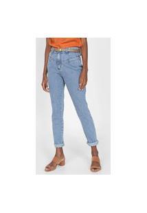 Calça Jeans Mob Boyfriend Recortes Azul