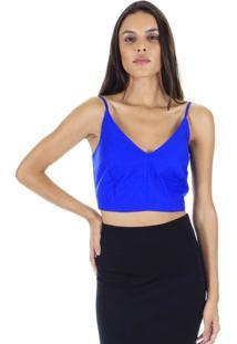 Blusa Cropped Alcinha Lisa Azul - Amarela Aha - Kanui