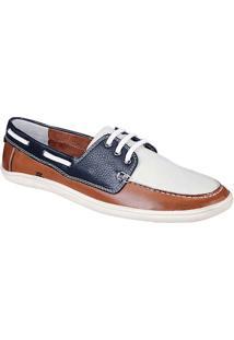 Sapato Masculino Dockside Sandro Moscoloni King Island Marrom/Branco