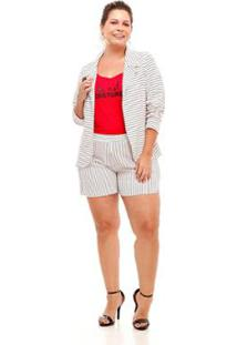 Blazer Melinde Plus Size Náutico Feminino - Feminino-Branco