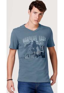 Camiseta Masculina Slim Manga Curta Gola V