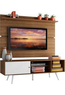 Rack Madesa Cairo E Painel Para Tv Até 65 Polegadas Com Pés De Madeira - Rustic/Branco/Rustic Marrom