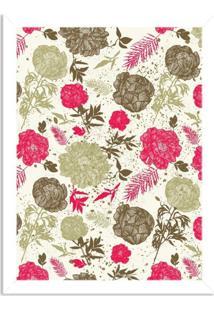 Quadro Decorativo Floral Rosa Branco - Médio